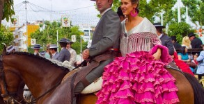 Typical scene from the Feria de Abril in Seville